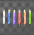 3d realistic colorful wax paraffin candle vector image vector image