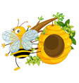 A big fat bee near the beehive vector image vector image