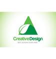 a green leaf letter design logo eco bio leaf vector image vector image