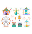 amusement park different funny attractions vector image