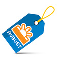 August Blue Tag with String and Sun Symbol vector image vector image