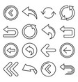 back arrow icons set on white background line vector image vector image