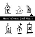 birds and birdhouses stylized hand drawn vector image vector image