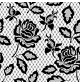black seamless lace pattern with rose on vector image