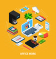 business office round composition vector image