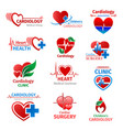 cardiology medicine clinic heart icons vector image vector image