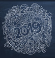 cartoon cute doodles hand drawn 2019 year vector image vector image