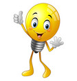 cartoon light bulb giving thumb up vector image