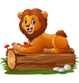 cartoon lion sitting on a tree log vector image vector image