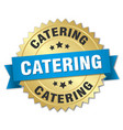 catering round isolated gold badge vector image vector image