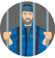 caucasian unshaven man behind bars in round button vector image