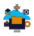 cloud computing monitor file vector image vector image