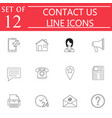 contact us line icon set web communication signs vector image vector image