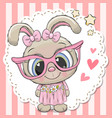 cute rabbit girl in pink eyeglasses vector image vector image