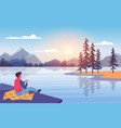 enjoy nature at sunset young man sitting on vector image