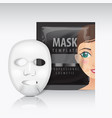 facial sheet mask with sachet black mock vector image vector image