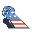 fist with us flag vector image
