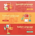 Flat banners for spanish turkish italian vector image vector image