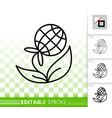 flower simple black line icon vector image vector image