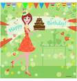 Girl Birthday Cake Card vector image