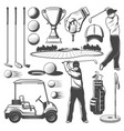 golf sporting items player monochrome icons vector image vector image