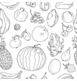 hand drawn fruits seamless pattern healthy food vector image