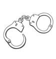 handcuffs hand drawn vector image