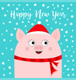 happy new year pig wearing red santa hat scarf vector image vector image