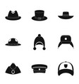 hat accessory icon set simple style vector image vector image