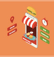 isometric online burger delivery smartphone vector image