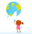 little artist child painting vector image vector image