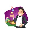 Man play roulette in casino vector image