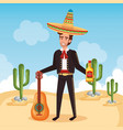 mexican mariachi with guitar character vector image vector image