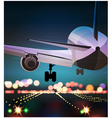 Passenger plane is landing old poster vector image vector image