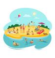 people rest on beach cartoon vector image