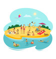people rest on the beach cartoon vector image
