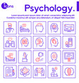 psychology items color linear icons set vector image vector image
