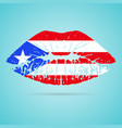 puerto rico flag lipstick on the lips isolated on vector image