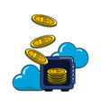 safe with bitcoin currency and cloud data vector image vector image