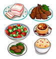 salad chicken cutlets pudding mousse and lard vector image