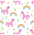 seamless pattern with cute pink unicorn and vector image