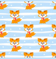 seamless winter pattern with cute fox with scarf vector image vector image
