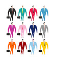 Set businessman in colorful costumes Man in pink vector image vector image