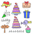 set of wedding party object doodles vector image