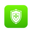 shield with cross icon digital green vector image