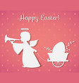 silhouette of an angel with easter egg paper art vector image vector image