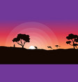 Silhouette of kangaroo at sunrise landscape vector image