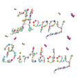 Spring Happy Birthday sign in color vector image vector image