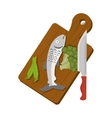 table kitchen with fish and vegetables vector image