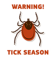 Tick season warning card vector image